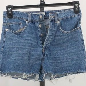 H&M button fly high rise cutoff jean shorts 6